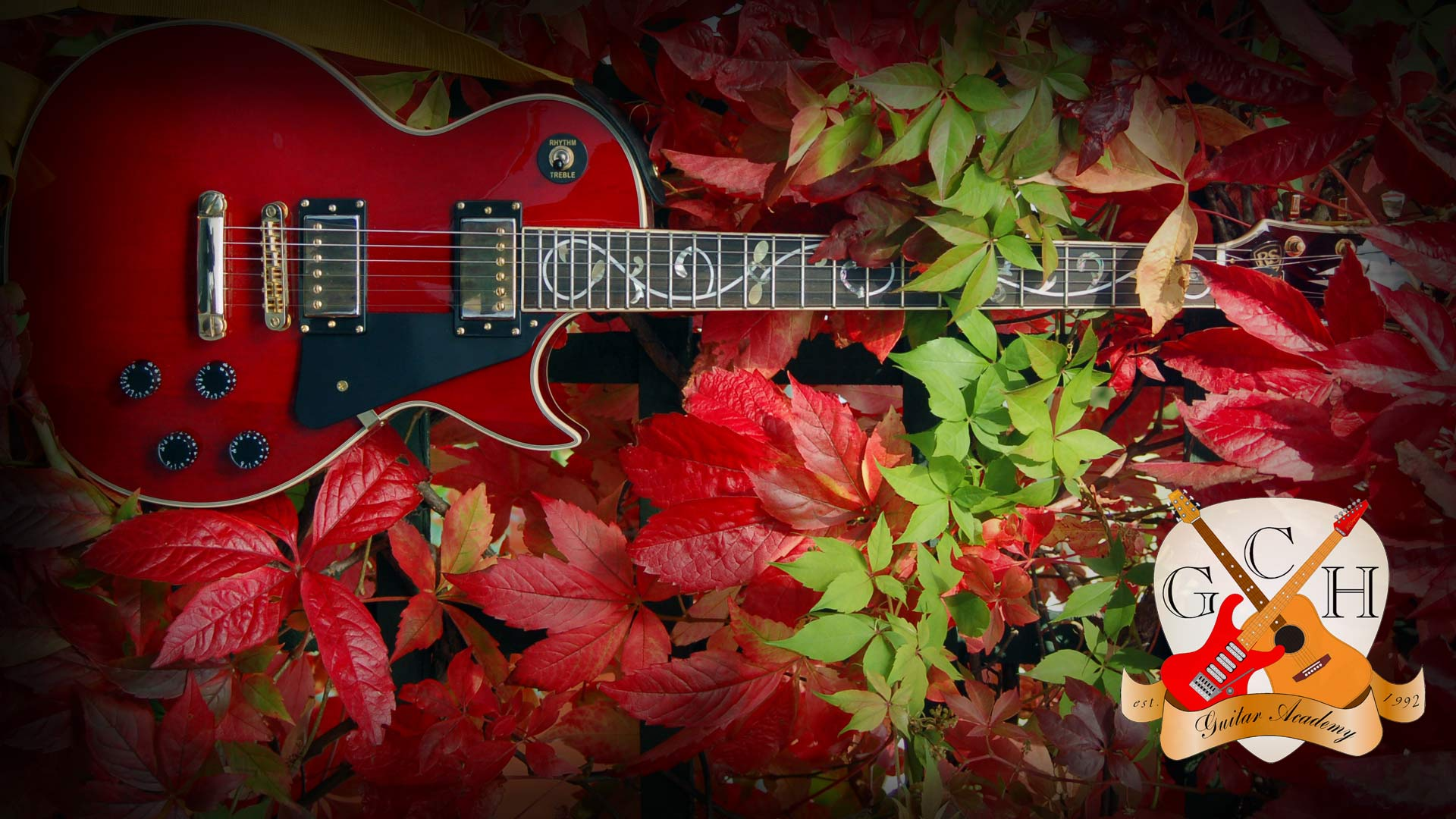 Guitar in autumn leaves, Les Paul style